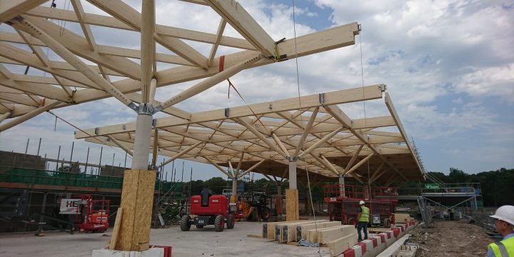 RHS Bridgewater Welcome Building makes progress as the Glulam roof goes up !